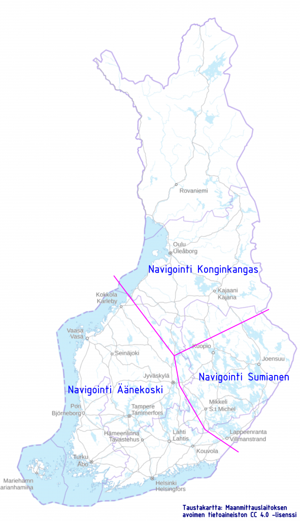 Kartta: tulosuunnat Suviseuroihin